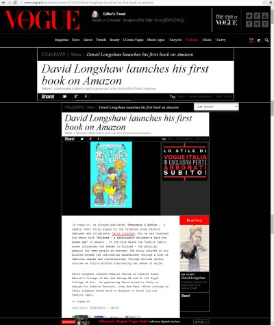VOGUE Italia review of MILDRED the book by David Longshaw